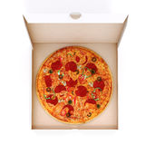 3d render of delicious pizza and box Royalty Free Stock Photography