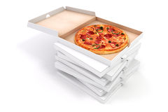 3d render of delicious pizza and box Royalty Free Stock Image