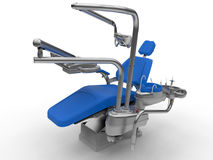 3D render Dentist chair and equipment. 3D render illustration of a dentist chair with all the auxiliary equipment. The composition is isolated on a white Stock Images