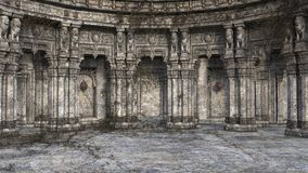 3D render of derelict and overgrown fantasy style court or throne room. A 3D render of a derelict and vine covered court or throne room lit by sunlight through stock image