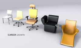 3D render with different chairs. Royalty Free Stock Images