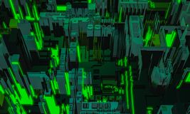 3d render digital abstract green building architecture fragment. Cyber City. Printed circuit board PCB technology repetition. Displacement royalty free stock image