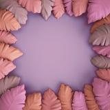 Tropical leaves in pink colors on violet background. 3d render, digital illustration, tropical leaves in pink colors on violet background Stock Image