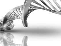 3D DNA medical background. 3D render of a DNA strands on a white background Stock Images