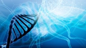 3d render of dna structure, abstract background. DNA molecules and floating particles. Heredity, biochemistry, modern medicine or genetic research concepts royalty free stock images