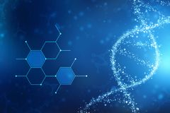 3d render of dna structure in medical technology background vector illustration