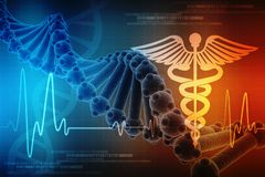 3d render of Dna structure in medical technology background, Concept of biochemistry with DNA. Molecule in medical technology background royalty free illustration
