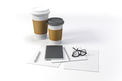 3d render - documents and coffee cups. On white background Royalty Free Stock Photography