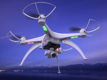 3d illustration of a drone in flight. 3d render of the drone in flight dynamics Stock Image