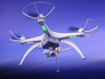 3d illustration of a drone in flight. 3d render of the drone in flight dynamics Royalty Free Stock Image