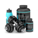 3d render of dumbbells with BCAA and whey bottles Royalty Free Stock Photos