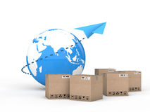 3d render of Earth globe and cartons with a paper plane Royalty Free Stock Images