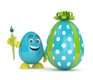 3d render of Easter cartoon egg. With paintbrush anf present over white background Royalty Free Stock Photo