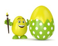3d render of Easter cartoon egg. With paintbrush painting egg over white background Stock Photos