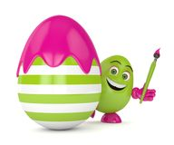 3d render of Easter cartoon egg in with paintbrush. Over white background Royalty Free Stock Images