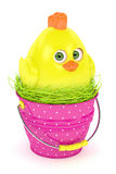 3d render of Easter chick in bucket Stock Image