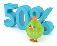 3d render of Easter chick with discount. Isolated on white background Stock Photography