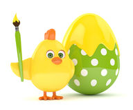 3d render of Easter chick with egg. 3d render of Easter funny chick with painted egg over white background Stock Photography