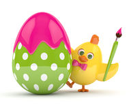 3d render of Easter chick with egg Royalty Free Stock Photos