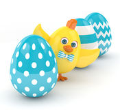 3d render of Easter chick with eggs Royalty Free Stock Image