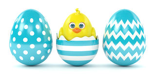 3d render of Easter chick in eggshell with painted eggs. Isolated on white background Stock Photo