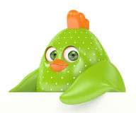3d render of Easter chick holding board. With copy space isolated on white background Royalty Free Stock Photography