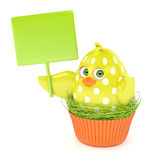 3d render of Easter chick in muffin nest holding board. Isolated over white background Stock Photo