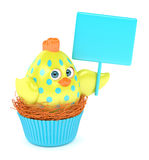 3d render of Easter chick in muffin nest holding board. Isolated over white background Royalty Free Stock Photos