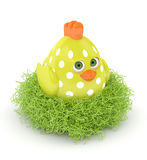 3d render of Easter chick in nest Royalty Free Stock Photos