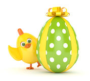 3d render of Easter chick with painted egg. Isolated on white background Stock Image