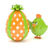 3d render of Easter chick with painted egg. Isolated on white background Stock Photography