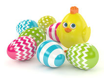 3d render of Easter chick with painted eggs Stock Photos