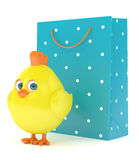 3d render of Easter chick with shopping bag. Isolated on white background Stock Images