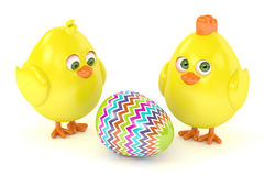 3d render of Easter chicks with painted egg. On white background Royalty Free Stock Images