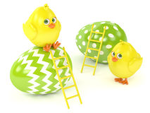 3d render of Easter chicks with painted eggs. Isolated over white background Royalty Free Stock Image