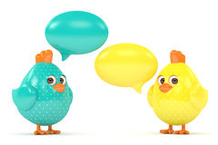 3d render of Easter chicks with speech bubbles. Isolated on white background Royalty Free Stock Photography