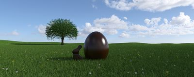 Easter chocolate bunny and egg on flowery meadow. 3d render, Easter chocolate bunny and egg on flowery meadow with clouds vector illustration