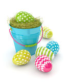 3d render of Easter eggs and bucket. Isolated over white background Stock Image