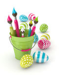 3d render of Easter eggs and paintbrushes in bucket. Isolated over white background Royalty Free Stock Photography
