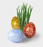 3D render of easter folk eggs stock photography