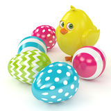 3d render of Easter funny chick with painted eggs Stock Photo