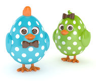 3d render of Easter funny chicks over white Stock Images