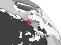 Map of El Salvador. 3D render of El Salvador in red on grey political globe with transparent oceans. 3D illustration stock illustration