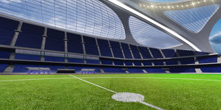 3d render emptry hi-tech stadium evening without people. Day royalty free illustration