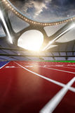 3d render emptry hi-tech stadium evening without people running. Track blue sky vector illustration