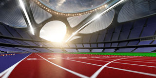 3d render emptry hi-tech stadium evening without people running. Track blue sky royalty free illustration