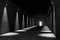 3D render of empty hall, dramatic. 3D render of empty hall with dramatic lights, room to place your object Royalty Free Stock Photos