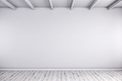 3d render of empty room with white walls and wooden floor Royalty Free Stock Image