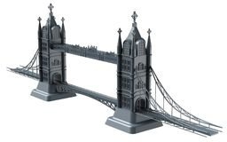 3D render of an English bridge on a white background. 3d render illustration of an English bridge on a white background Royalty Free Stock Photos