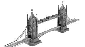 3D render of an English bridge on a white background Stock Photo